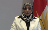 Dr. Sahar al-Ta'i, an Iraqi advocate of normalizing ties with Israel, speaks at a peace conference in Erbil, Kurdistan, on Friday, September 24, 2021. (Screenshot)
