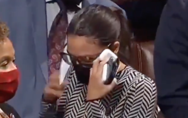 Alexandria Ocasio-Cortez seen visibly shaken up after casting 'present' vote on Iron Dome funding bill on the House floor on September 23, 2021. (Screen capture/Twitter)