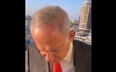 Opposition leader Benjamin Netanyahu imitating a sleeping US President Joe Biden, in a Facebook Live video, September 19, 2021. (Screen capture: Facebook)