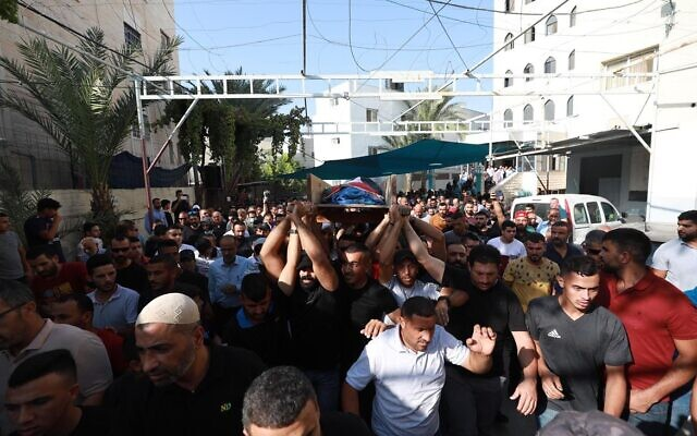 Palestinians participate in the funeral of Ra'id Jadullah, 39, on Wednesday, September 1, 2021; Jadullah was allegedly shot by Israeli troops (WAFA)