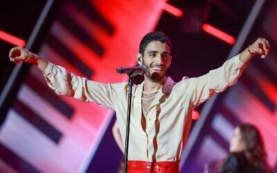 """Tamir Grinberg, the vocalist who won 'HaKochav Haba,"""" the Keshet 12 reality music show, on September 1, 2021. (Courtesy: Keshet 12)"""
