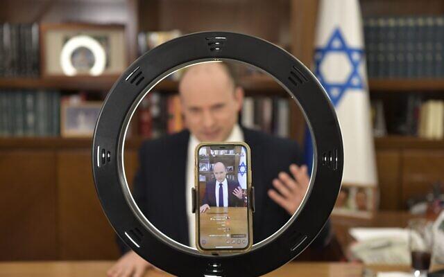 Prime Minister Naftali Bennett holds a Q & A session on TikTok on September 1, 2021. (Koby Gideon/GPO)