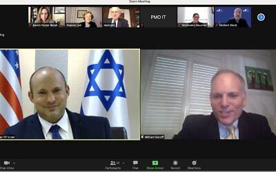 Prime Minister Naftali Bennett (L) speaks via Zoom with the Conference of Presidents on September 3, 2021. (Screen capture/Courtesy)