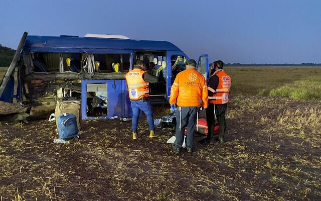 Medics are seen at the scene of an accident near Uman, Ukraine, on September 9, 2021. (United Hatzalah)