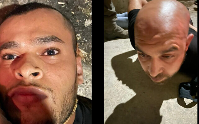 Munadil Nafiyat (L) and Iham Kamamji (R), the two last Palestinian fugitives from the Gilboa Prison jailbreak, are arrested on September 19, 2021 (Courtesy)