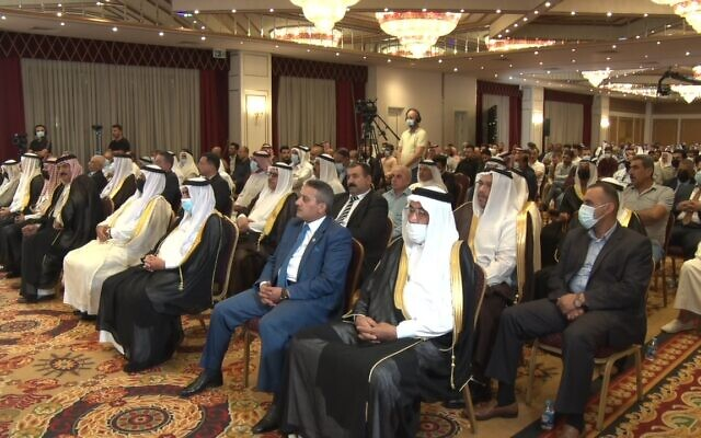 Iraqi notables gather to call for normalization with Israel at an Erbil conference on Friday, September 24, 2021 (Credit: Center for Peace Communications)