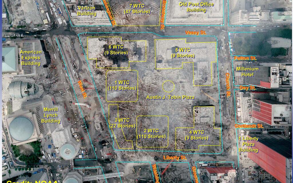 The layout of the original World Trade Center complex (via Wikimedia Commons/NOAA/Public domain)
