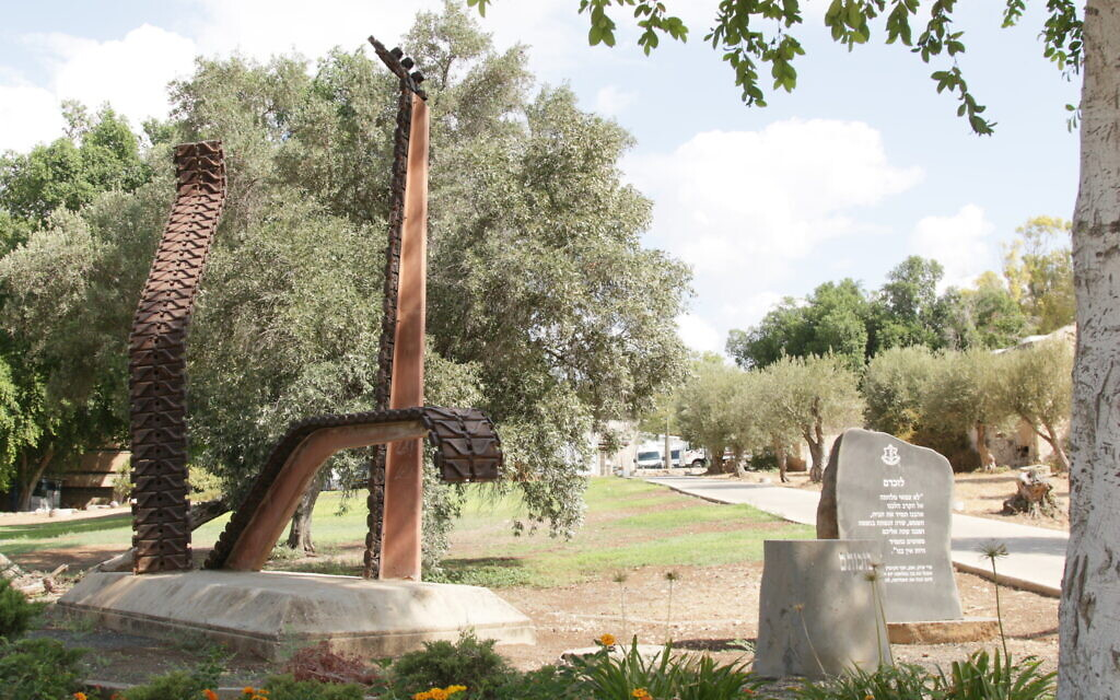 The memorial to the fallen IDF soldiers of the 1973 Yom Kippur War, in Kibbutz Beit Hashita. (Shmuel Bar-Am)