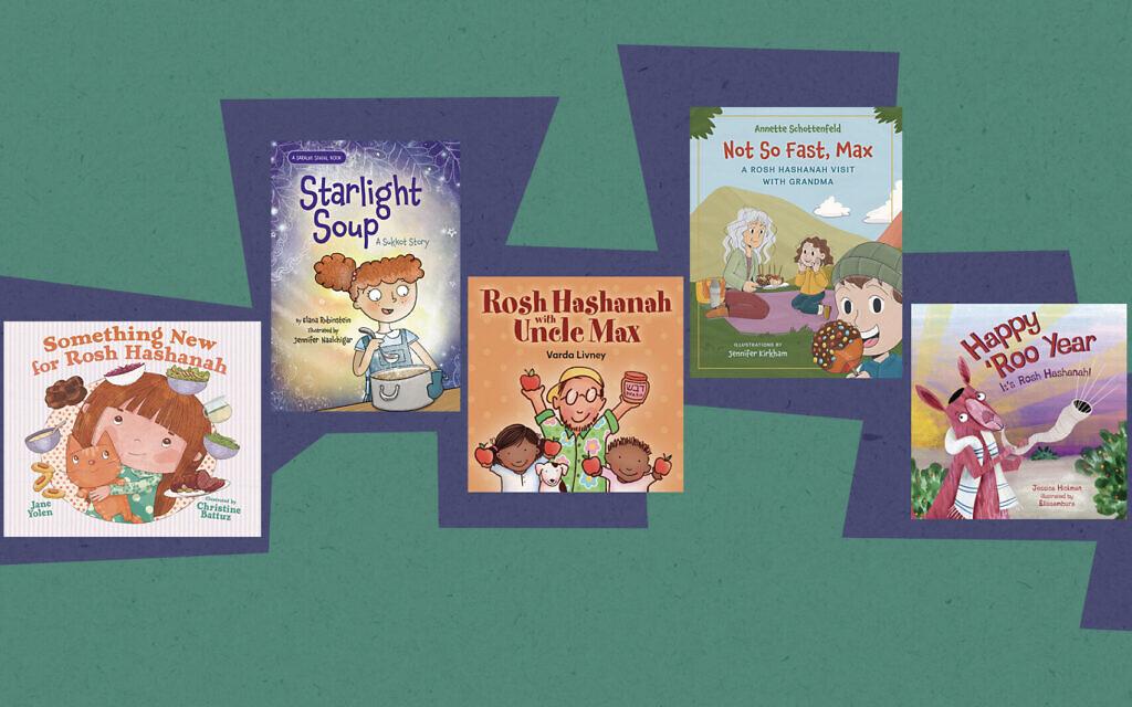 A collage of kids' books for this Jewish holiday season. (Apples & Honey Press; Kalaniot Books; Kar-Ben Books/ via JTA)