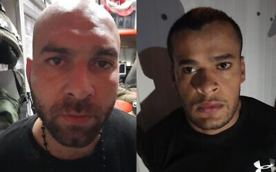 Iham Kamamji (L) and Munadil Nafiyat (R), the two last Palestinian fugitives from the Gilboa Prison jailbreak, are arrested on September 19, 2021 (Courtesy/Shin Bet security service)