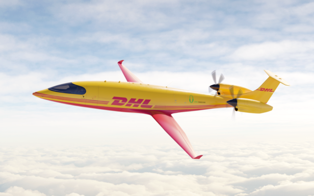 DHL Express ordered 12 all-electric Alice planes from Eviation Aircraft in a step toward 'sustainable aviation future' in August 2021. (Eviation/DHL)