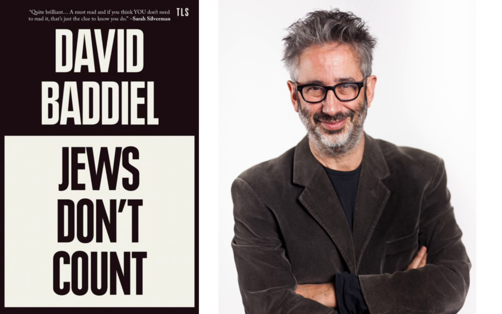 Author and comedian David Baddiel and his new book, 'Jews Don't Count.' (Courtesy)