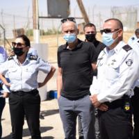 Public Security Minister Omer Barlev visits Ketziot prison in southern Israel, on September 9, 2021. (Israel Prisons Service)