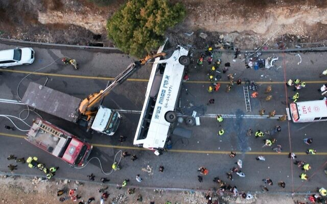 The scene of a fatal accident between a bus and two vehicles on Route 89 in the northern Galilee, September 29, 2021. (Eyal Merom / Ichud Hazala)