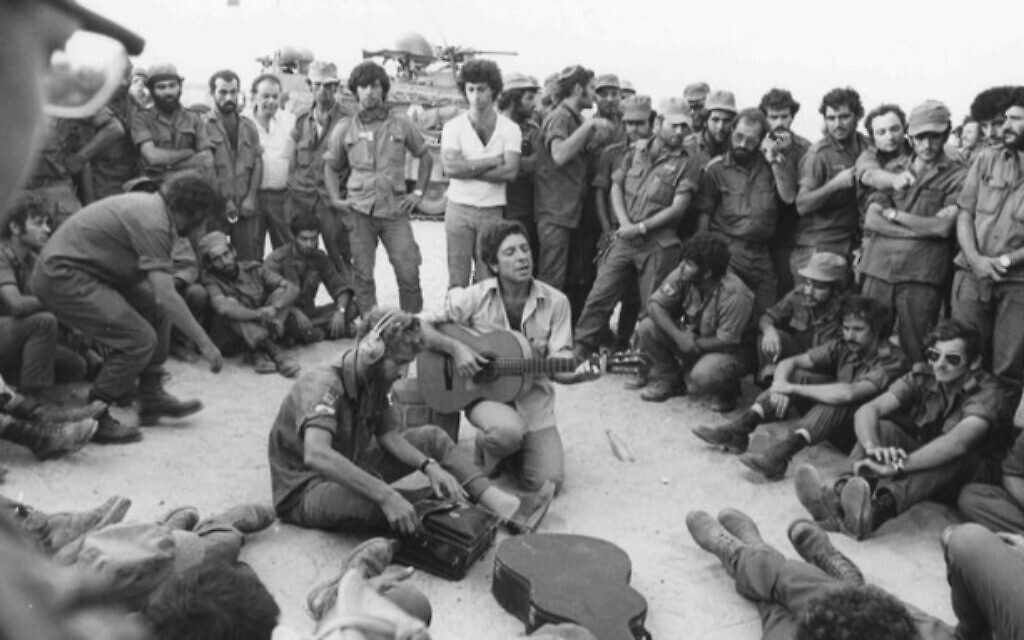 Leonard Cohen performs for Israeli troops in the Sinai during the 1973 Yom Kippur War (Ron Ilan/ IDF archives)
