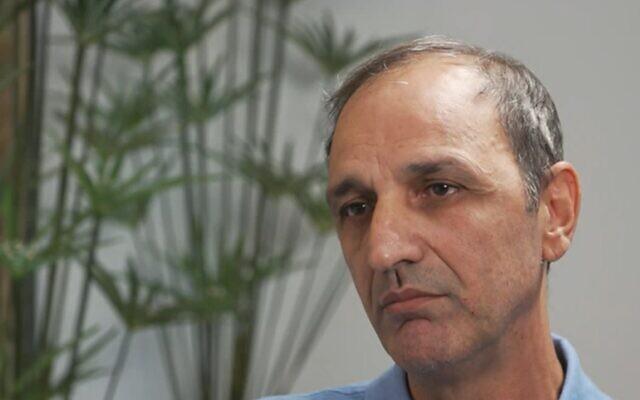 Shmulik Peleg, the maternal grandfather of Eitan Biran, in an interview broadcast September 17, 2021 (Channel 12/Screen grab)