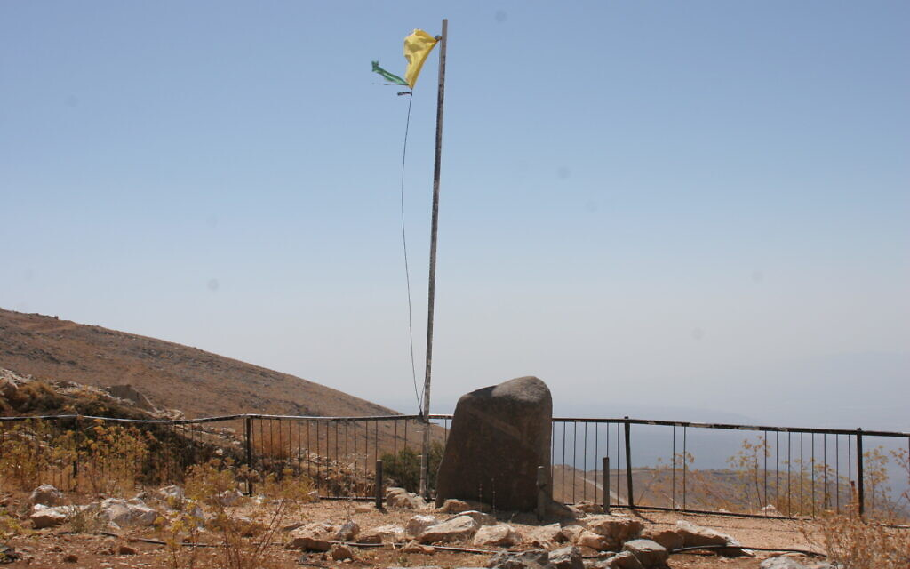 The memorial to Eitan Plonski and the three soldiers who fell alongside him in the 1973 Yom Kippur War, at Mount Hermon. (Shmuel Bar-Am)