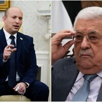 Prime Minister Naftali Bennett (L) and Palestinian Authority President Mahmoud Abbas. (Composite/AP)