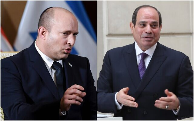 Prime Minister Naftali Bennett (L) and Egyptian President Abdel-Fattah el-Sissi. (Composite/AP)