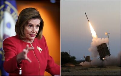 Left: US House Speaker Nancy Pelosi, D-CA, meets with reporters to discuss President Joe Biden's domestic agenda at the Capitol in Washington, on September 8, 2021 (AP Photo/J. Scott Applewhite); Right: An Iron Dome air defense system fires to intercept a rocket from Gaza Strip in the costal city of Ashkelon, Israel, on July 5, 2014. (AP Photo/Tsafrir Abayov)