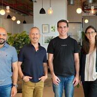 From right to left: Sompo Tel Aviv Business Development Manager Meytal Shavit, Planck co-founder and CEO Elad Tsur, head of the Sompo Digital Lab Tel Aviv Yinnon Dolev, and Diyaa Shridi, chief technology officer at Sompo Digital Lab Tel Aviv. (Michael Cohen)
