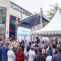 Siberian Jews celebrate the opening of a new Jewish education center in Tomsk, Russia, Sept. 12, 2021. (Levy Kaminetzky via JTA)