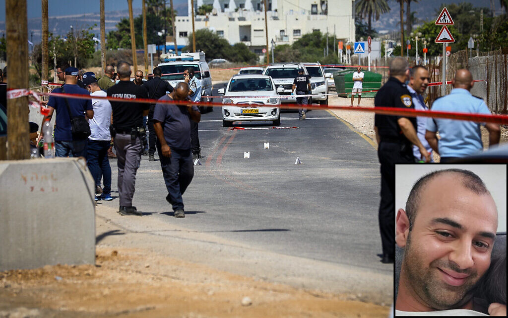 Israeli security forces at the scene in which a car ran over two police officers and killed one of them in the northern Israeli city of Nahariya, September 21, 2021 (Alon Nadav/Flash90); Inset: Slain police volunteer Hossam Zaghir (Courtesy)