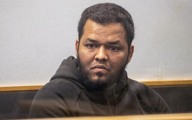 Ahmed Aathill Mohamed Samsudeen appears in the High Court in Auckland, New Zealand, August 7, 2018, after he was found possessing a series of images which depict extreme violence, cruelty, death and graphic war scenes. (Greg Bowker/New Zealand Herald via AP)