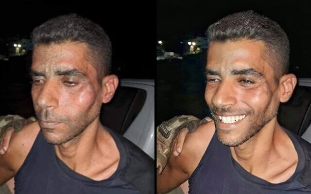 Zakaria Zubeidi seen after being recaptured in northern Israel on September 11, 2021 (left) and in a doctored photo in which he is made to appear smiling. (Courtesy)