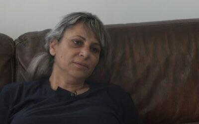 Nitza Shmueli, mother of slain Border Police officer Barel Haderia Shmueli, speaks to Channel 12, September 3, 2021 (screenshot)