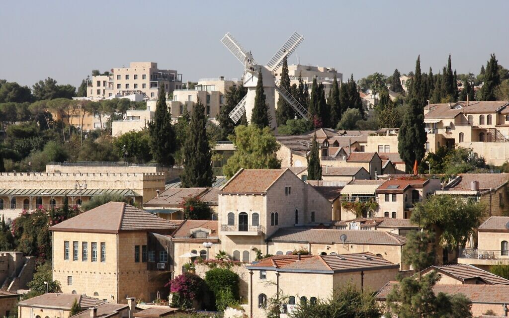 A view of Jerusalem's Mishkenot Sha'ananim neighborhood from Mount Zion. (Shmuel Bar-Am)