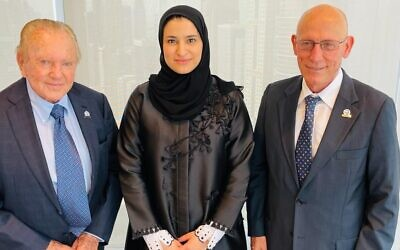 From left: SpaceIL chairman Morris Kahn, Sarah bint Yousef Al Amiri, Emirati Minister of State for Advanced Technology and Chairwoman of the UAE Space Agency, and SpaceIL CEO Shimon Sarid. (Courtesy)
