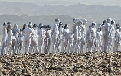 The 200 nude participants who modeled for American photographer Spencer Tunick at the Dead Sea on October 17, 2021. (courtesy, Irit Eshet Mor)