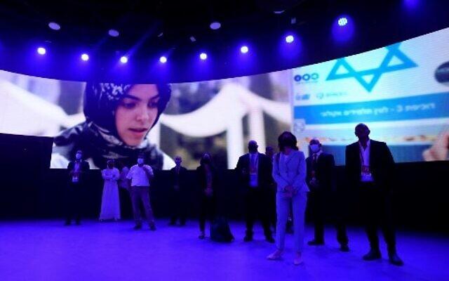 Environmental Minister Tamar Zandberg visits Israel's pavilion at Expo 2020 in Dubai, on October 4, 2021. (Karim Sahib/AFP)