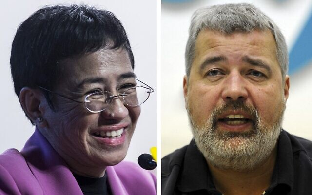 This file combination of pictures created on October 08, 2021, shows Maria Ressa (L), co-founder and CEO of the Philippines-based news website Rappler, speaking at the Human Rights Press Awards at the Foreign Correspondents Club of Hong Kong on on May 16, 2019 and Dmitry Muratov, editor-in-Chief of Russia's main opposition newspaper Novaya Gazeta gestures as he speaks during a news conference in Moscow, on December 11, 2012 (AFP)