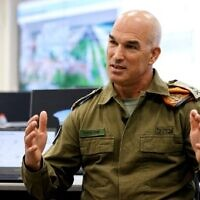 Major General Uri Gordin, chief of Israel's Home Front Command, speaks during an interview with AFP at the command's operational center in Ramle on October 12, 2021. (JACK GUEZ / AFP)