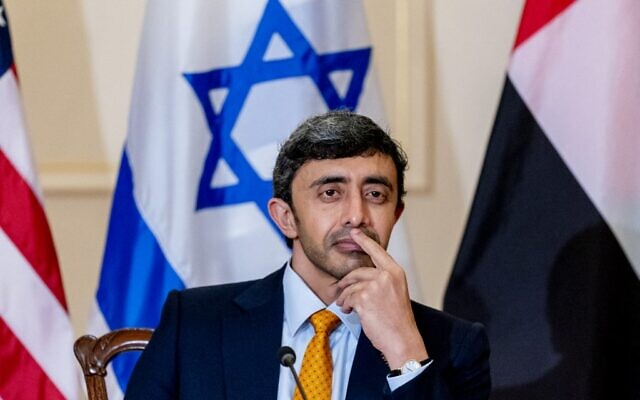 United Arab Emirates Foreign Minister Sheikh Abdullah bin Zayed al-Nahyan listens during a joint news conference with Secretary of State Antony Blinken and Israeli Foreign Minister Yair Lapid at the State Department in Washington, DC on October 13, 2021. (Andrew Harnik / POOL / AFP)