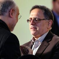 In this file photo taken on January 17, 2016, then-head of the Central Bank of Iran, Valiollah Seif (right), speaks to Iran's head of Atomic Energy Organization Ali Akbar Salehi. (Atta Kenare/AFP)