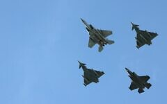 Israeli and German fighter jets fly over the Knesset, Israel's parliament, during a flyby in a display of cooperation between the two countries and their armies, in Jerusalem on October 17, 2021. (Emmanuel DUNAND / AFP)