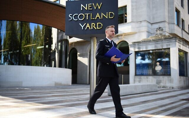 Assistant Commissioner for Specialist Operations Matt Jukes preparing to update the media on the investigation into the murder of Conservative Party lawmaker David Amess, outside New Scotland Yard in south west London on October 21, 2021. (Daniel Leal-Ollivas/AFP)
