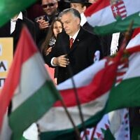 Hungarian Prime Minister Viktor Orban reacts after delivering a speech during an event in Budapest to commemorate the 65nd anniversary of Hungarian uprising against Soviet occupation in Budapest, on October 23, 2021. (Attila Kisbendek/AFP)