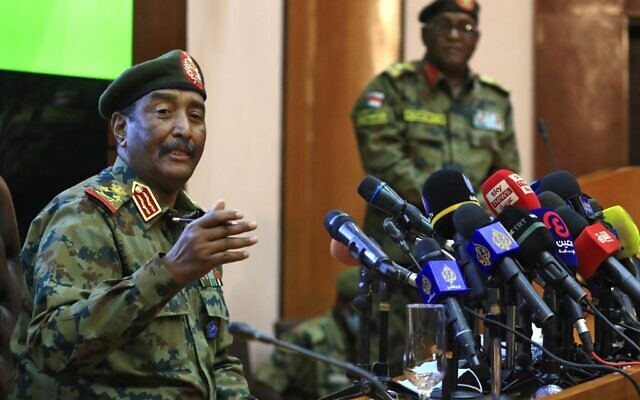 Sudan's top general, Abdel Fattah al-Burhan, speaks during a press conference at the General Command of the Armed Forces in Khartoum on October 26, 2021. (Ashraf Shazly/AFP)