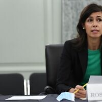 FCC Commissioner Jessica Rosenworcel testifies during an oversight hearing in Washington, June 24, 2020. (Jonathan Newton-Pool/Getty Images via JTA)