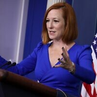White House Press Secretary Jen Psaki calls on reporters during the daily news conference in the Brady Press Briefing Room at the White House on October 27, 2021 in Washington, DC.  (Chip Somodevilla/Getty Images/AFP)