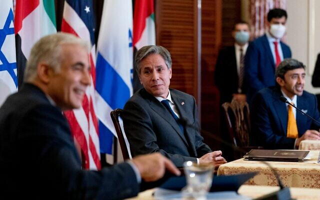 From left: Foreign Minister Yair Lapid, US Secretary of State Antony Blinken and United Arab Emirates Foreign Minister Sheikh Abdullah bin Zayed al-Nahyan take part in a joint news conference at the State Department in Washington, on October 13, 2021. (Andrew Harnik/Pool/AFP/via Getty Images)