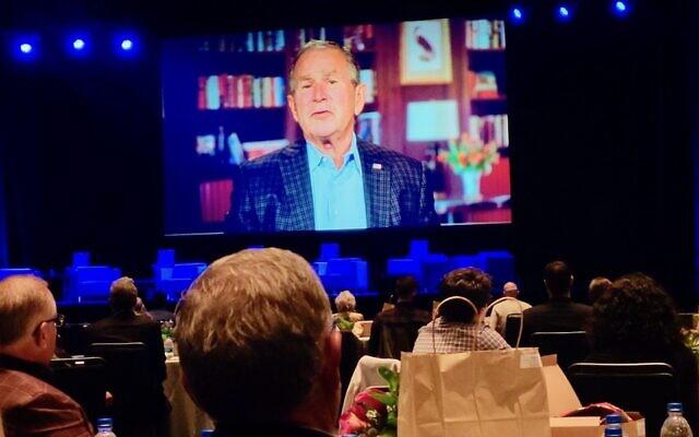Former President George W. Bush, appearing via video, was a keynote speaker at the Eradicate Hate Global Summit, held Oct. 18-20, 2021 in Pittsburgh, Pennsylvania. (David Rullo/Pittsburgh Jewish Chronicle via JTA)