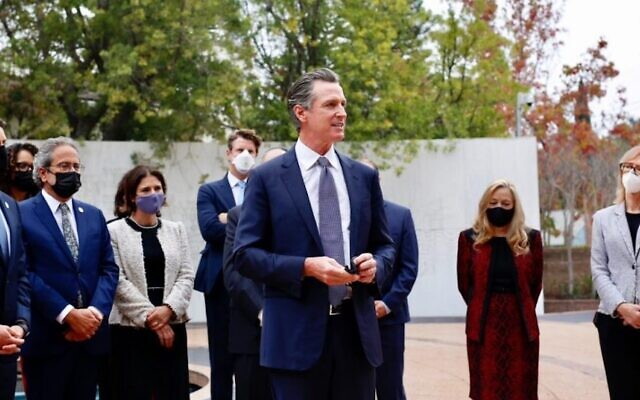 California Governor Gavin Newsom announced the formation of a Council on Holocaust and Genocide Education at the Museum of Tolerance in Los Angeles. (Governor Newsom's office via JTA)