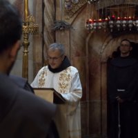 Minister General of the Franciscan Order, Massimo Fusarelli, speaks at the Basilica of the Holy Sepulchre in Jerusalem, October 20, 2021. (Screenshot: Youtube/Christian Media Center)