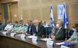 Defense Minister Benny Gantz speaks to the Knesset's Foreign Affairs and Defense Committee, on October 19, 2021. (Noam Mushkovitz/Knesset Spokesperson)
