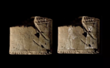 A spirit is seen being led to the afterlife by a lover on a Babylonian clay tablet. The white line tracing is by Chris Cobb for Irving Finkel's book, The First Ghosts: Most Ancient of Legacies. (Screenshot/ Youtube/Archaeology Now)